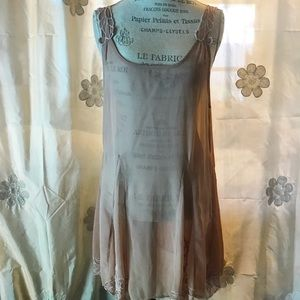 Free People sheer polyester dusty rose long cami